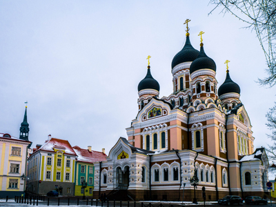 Historic architecture in city center of Tallinn, Estonia