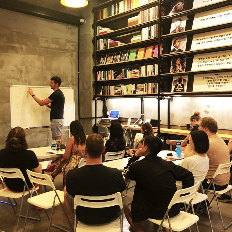 Digital nomads learn at Korean language workshop in Seoul, Korea