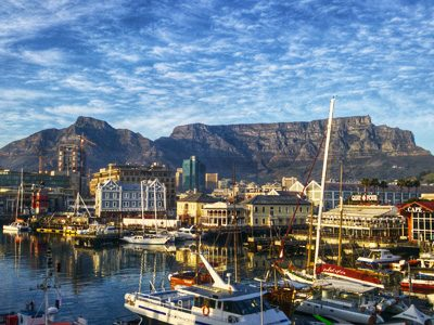 Picturesque harbor and view of Table Mountain in Cape Town, South Africa