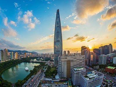 Breathtaking view of Lotte World Tower in Seoul, Korea