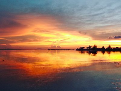 Colorful sunset on islands of Thailand