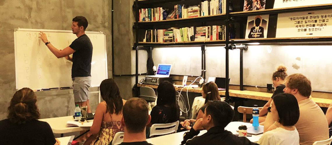 Digital nomads learn at Korean language workshop in Seoul, Korea